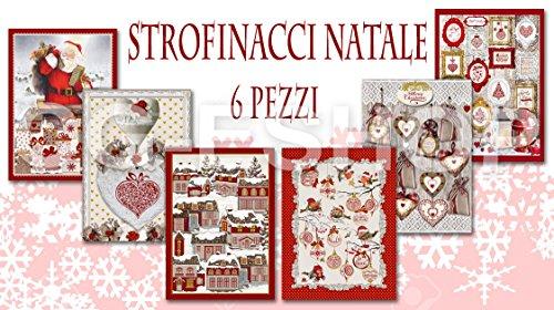 Confezioni Giuliana Set 6 Asciugamani da Cucina Natale Senza Calendario Disegni Assortiti...