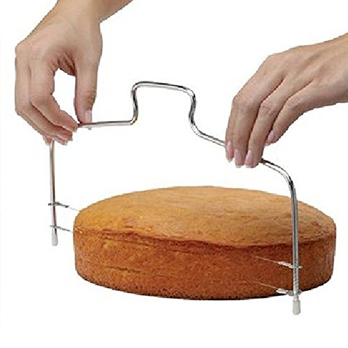 BIGBOBA Tortenbodenteiler mit gezahntem Schneidedraht Tortenschneider Doppellinie Verstellbare Tortenbodenteiler Edelstahl Kuchen Cut Werkzeuge,33 cm x 16 cm