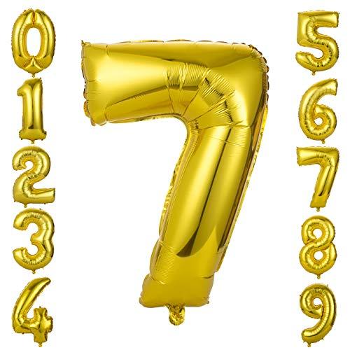 GWHOLE Globos Número 7, Globo Color Oro Globo Grande de Aluminio 1 2 3 4 5 6 7 8 9, Globos para Fiestas de Cumpleaños, Aniversario