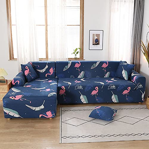 Funda elástica para sofá, Funda elástica seccional para sofá, Funda para Sala de Estar, Funda para sillón de Esquina en Forma de L, A6, 3 plazas