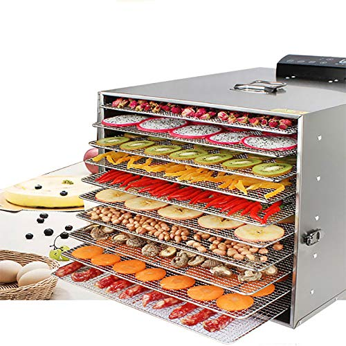NBXLHAO Food Dehydrator, Stainless Steel, Glass Window,Timer 24 Hours, With 10 Trays, For Home and Commercial, For Fruit, Vegetables, Meats