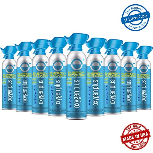 Oxygen Plus 99.5% Pure Recreational Oxygen Cans Filled in FDA-Registered Facility - Restore Oxygen Levels w/Oxygen Supplement, 11 Liter Portable Oxygen Canisters for Natural Energy (O+ Biggi 9-Pack)