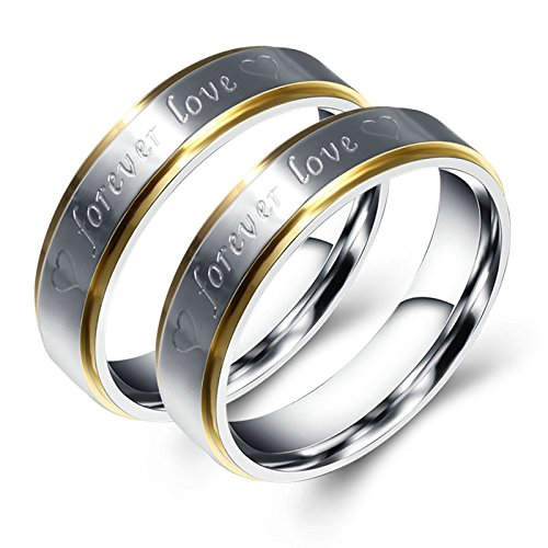 Bishilin Couples Rings Matching 2 Pieces Stainless Steel Gay Ring Forever Love Heart Gold Silver 8 & 9