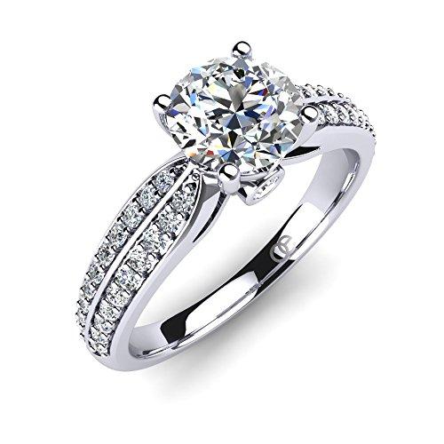 Moncoeur Ring Promise + Silberner Pave Solitärring + Trauringe + Verlobungsring für Damen Freundin mit Cubic-Zirkonia-Steinbesatz + für Ihre Liebste + ausgezeichnete Maße und Geschenk-Box (52 (16.6))