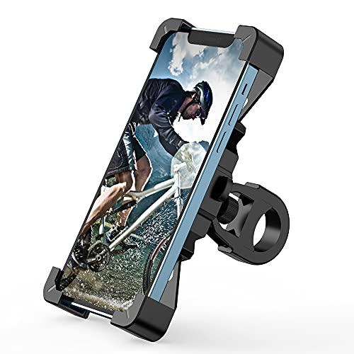 Soporte de teléfono móvil para bicicleta o moto, universal, rotación 360°, para smartphone de 4,7 a 7 pulgadas, color negro