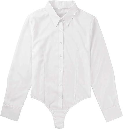 IEFIEL Camisa Body para Mujer Blusa Manga Larga Bodysuit de ...