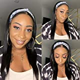 Straight Human Hair Wigs Glueless None Lace Front Wigs Brizilian Virgin Hair Machine Made Headband Wig for Black Women 150% Density 16 Inch