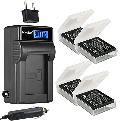 Kastar 4-Pack LB080 Battery and LCD AC Charger Compatible with Kodak LB-080 Battery, Kodak PIXPRO SP1, PIXPRO SP1 HD, PIXPRO SP360, PIXPRO SP360 4K, PlaySport Zx5, SP1-YL3, PIXPRO ORBIT360 4K Camera