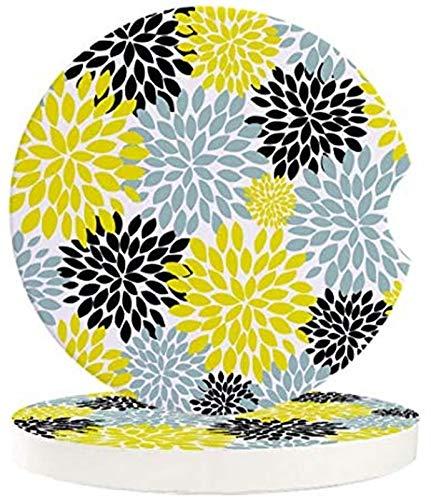 Juego de 4 posavasos para coche, diseño de flores de dalia, color amarillo, azul, negro, cerámica, absorbente, impresión floral, con una muesca de dedo para fácil extracción del portavasos automático