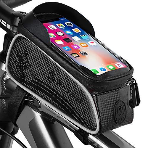Borse Bici Bicicletta Borsa da Manubrio Porta Telefono per Bicicletta, Adatto per il Telefono Mobile con Dimensione Inferiore a 6', Impermeabile Anteriore Telaio Borse