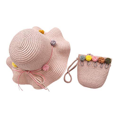 XuHang Sommer-Sonnenhut für Kinder und Mädchen, aus Stroh, gewebt, mit tragbarer Handtaschen-Tasche, niedlicher Cartoon-Hasen-Pompon, Sonnenschutz, Strandkappe für Wandern und Outdoor