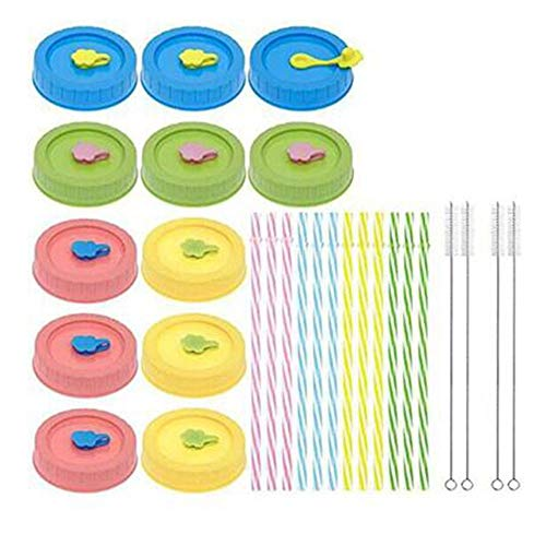 Tashido 1 juego de tapas para tarros de cristal para bola, Kerr, etc. con agujero/pajita/tapones de silicona/cepillo limpio, tapones para alimentos