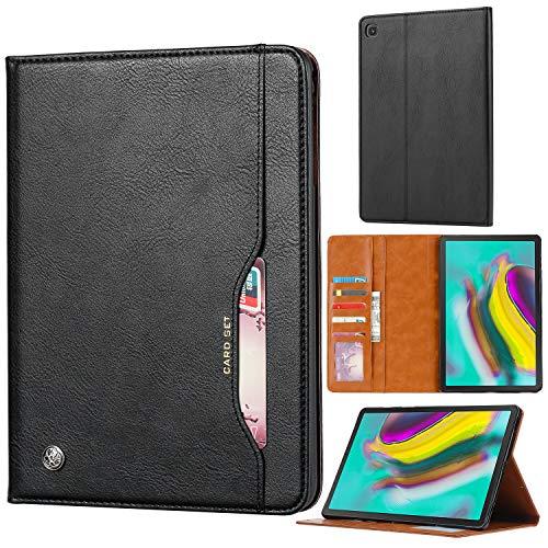 Fdbark Cover per Samsung Galaxy Tab S5e,Custodia in Pelle Portafoglio a Fogli mobili,Staffa,Custodia per Tablet di Fascia Alta con Slot per schede(Nero)