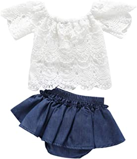 Toddler Baby Girls 2pcs Outfits Lace Short Sleeve Off Shoulder Shirt Top+Denim Short Pants Skirt