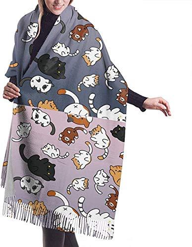 Irener Bufanda de mantón, Women's Scarf Cute Kawaii Cat Kitten Classic Tassel Plaid Scarf Autumn And Winter Warm Scarf