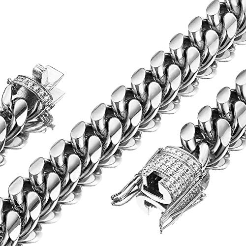 Mens Miami Cuban Link Chain White 15mm Stainless Steel Curb Necklace with cz Diamond Chain Choker (20, Necklace)