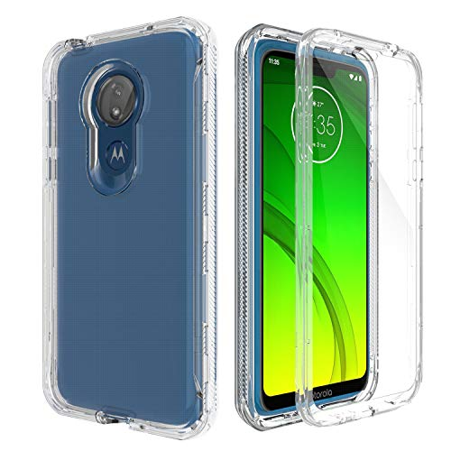 AMENQ Case for Moto G7 Power, Moto G7 Optimo Maxx XT1955DL Case, Moto G7 Supra Case [Built in Screen Protector] Transparent Hard Protective Case with TPU Bumer and Rugged PC Back Armor Cover (Clear)