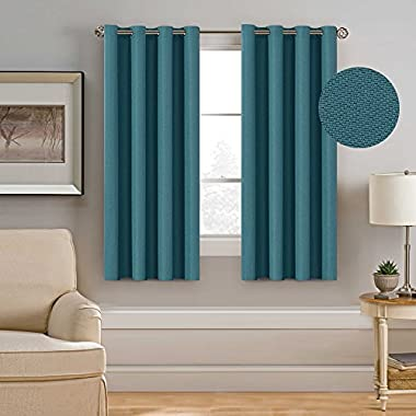 H.Versailtex Ultra Elegant Rich Linen Grommet Curtain for Small Window,Room Darkening,Energy Efficient&Warm Keeping Winter Panels for Bedroom,52 by 63 Inch-Teal (Set of 1)