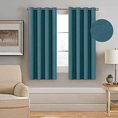 H.VERSAILTEX Ultra Elegant Rich Linen Grommet Curtain for Small Window,Room Darkening,Energy Efficient&Warm Keeping Winter Panels for Bedroom,52 by 63 Inch-Aegean Blue (Set of 1)