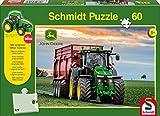 Schmidt Spiele 56043 John Deere, 8370R, 60 Teile Puzzle, mit Siku Traktor