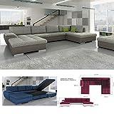 BMF TOKIO MAXI – Sofá cama esquinero de piel sintética o tela en forma de U grande con almacenamiento de cama, orientado a la derecha, 327 cm x 188 cm x 173 cm