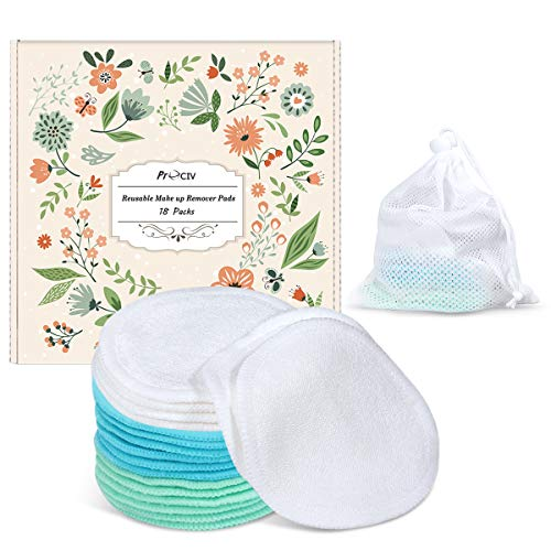 Reusable Makeup Remover Pads - Face Cleansing Wipes Soft Cotton Toner Pads with Wash Bag, 18 Pcs