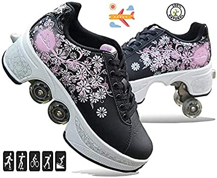 Double-Row Deform Wheel Automatic Walking Shoes Invisible Deformation Roller Skate 2 in 1 Removable Pulley Skates Skating