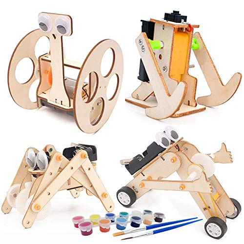 DEUXPER Wooden Robots Models Building Kits for Kids and, Teens or Adults | Educational STEM Learning Science Craft Toys for Boys or Girls Age 7-14 (Robot 4 Kits)