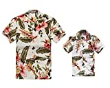 Padre e Hijo a Juego Traje Hawaiano de Luau Camisa de Hombre Camisa de niño Corto Crema...