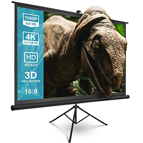 Projector Screen with Stand - Kapwan 100 inch 16:9 HD 4K Wrinkle-Free Portable Projector Screen Pull...