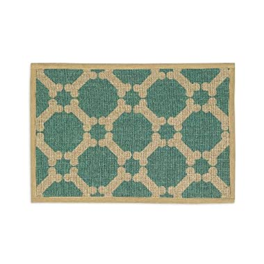 Buddy's Line Natural Jute Pet Placemat, Teal Background