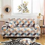 WXQY Fundas de Tela Escocesa geométricas Funda de sofá elástica elástica Funda de sofá de protección para Mascotas Funda de sofá de Esquina en Forma de L Funda de sofá con Todo Incluido A12 3 plazas