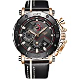 LIGE Mens Watches Waterproof Sports Chronograph Casual Fashion Analog Quartz Watch Luxury Military Leather Large Dial Watch