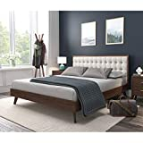 DG Casa Soloman Mid Century Modern Tufted Upholstered Platform Bed Frame, Queen Size in Beige Fabric
