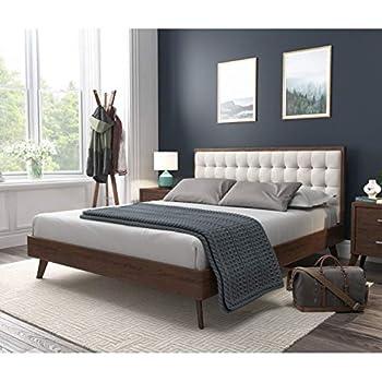 DG Casa Soloman Mid Century Modern Tufted Upholstered Platform Bed Frame Queen Size in Beige Fabric