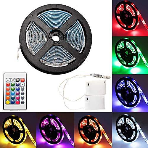 4m LED-Streifenlichter mit 24 Tasten Fernbedienung und Kasten, RGB 5050 Wasserdichtes Multicolor Lichtleiste für Weihnachten Hause Indoor und Ourdoor Dekoration