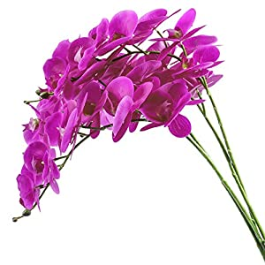 U'Artlines 38 Inch Artificial Phalaenopsis Flowers Branches Silk Orchids Flowers for Home Office Wedding Decoration,Pack of 4 (4pcs Real Touch Purple Red)