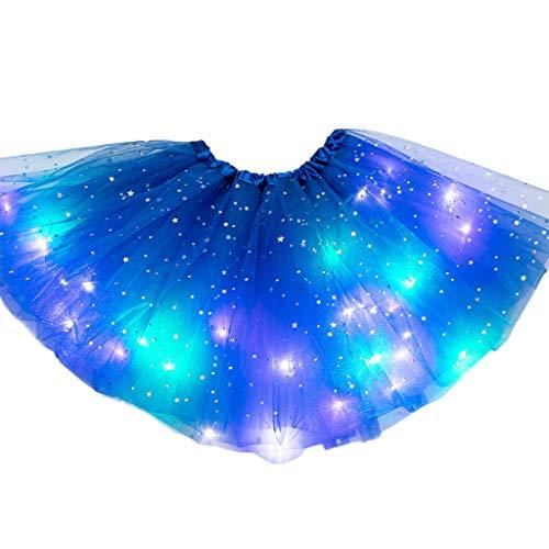 Vivianu Frauen LED Ballettröckchen-Rock, Stern Pailletten-Ballettröckchen Rock LED Leuchten Buntes Tanzparty Kurzschluss-Neonkleid