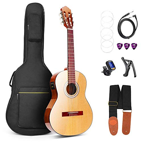 Classical Guitar, Classical Guitar Acoustic Electric 36 Inch 3/4 Professional Best Natural Color Nylon-String Guitars for Beginners, by Vangoa