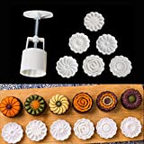 Moon Cake Mold with 6 Stamps, Flowers Design Hand Pressure Fondant Decoration Cookie Cutter for Baking DIY Cookie, White
