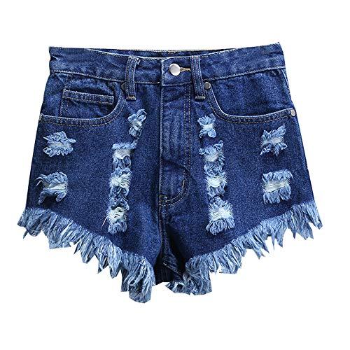 Womens Hoge Taille Shorts Gerafelde Ruwe Zoom Gescheurde Denim Jean, Zomer 2020 Wijde Pijpen Hoge Taille Hotpants Vrouwen Rock Denim Shorts,XS
