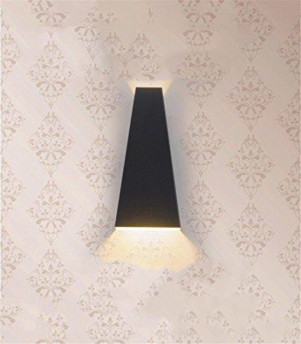 a LED per interni ed esterni impermeabile e anti-nebbia in bianco e nero con colonna vertebrale geometrica, soggiorno, corridoio, comodino, luce da giardino, luce calda nera/impermeabile LED-10W