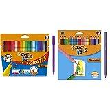 BIC Kids Visa Rotuladores Punta Fina - Surtidos, Blíster de 18 Unidades + Tropicolors Lápices de (2,9mm) - Surtidos, Blíster de 24 Unidades