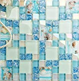 Hominter 11-Sheets Crackled Glass Backsplash Blue Tile, Iridescent White Mosaic Wall Tiles, Resin with Shell Tile Beach Style House Bathroom and Kitchen Backsplash GW3BLY114