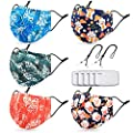 Washable Face Maks for Women with 2 Adjustable Lanyards,Nose Wire & Filter Pocket,Cloth Fabric with Fashionable Print(5 Pcs)