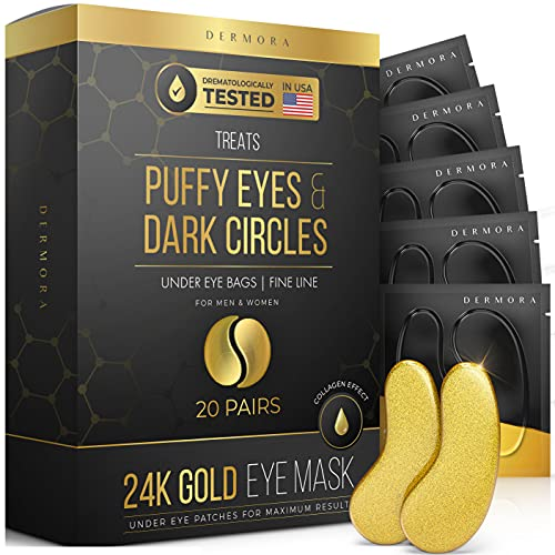 24K Gold Eye Mask– 20 Pairs – Puffy Eyes and Dark Circles Treatments – Look Less Tired and Reduce Wrinkles and Fine Lines Undereye, Revitalize and Refresh Your Skin