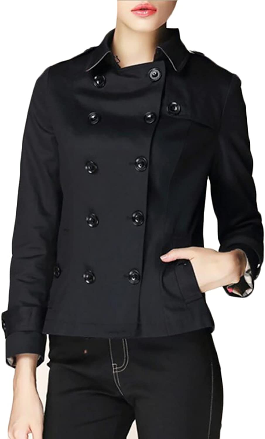 Esast Women Peacoat Double Breasted Overcoat Length Wool Blazer