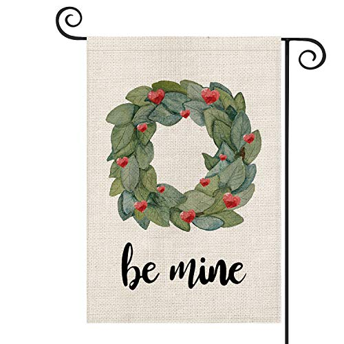 AVOIN Magnolia Wreath Be Mine Garden Flag Vertical Double Sized, Holiday Valentine's Day Farmhouse Yard Outdoor Decoration 12.5 x 18 Inch