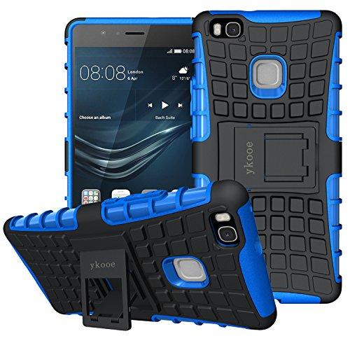ykooe Cover Huawei P9 Lite, Silicone Custodia Huawei P9 Lite Doppio Strato a Ibrida Phone Caso con Supporto per Huawei P9 Lite Smartphone