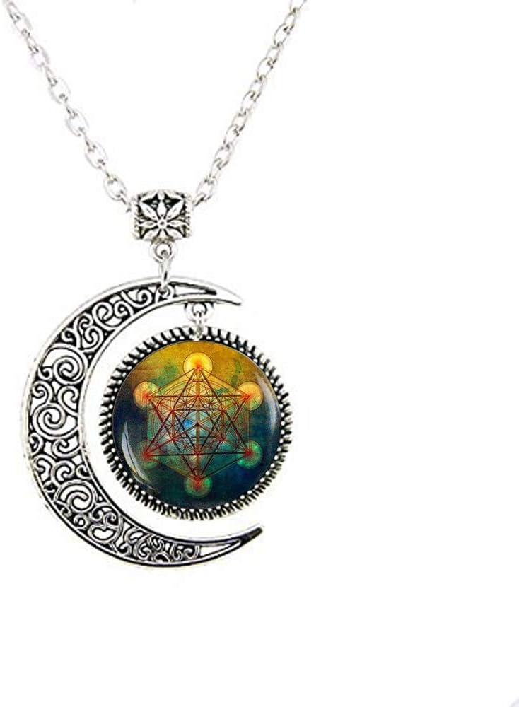 Metatron's Cube Pendant, Sacred Geometry Jewelry, Metatrons Cube, Geometric Necklace, Jewelry for Men, Dance Recital Moon Necklace